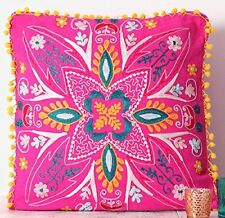 """Suzani Hand Embroidery Cushion Cover Indian Pillow Cases Pink 20x20"""""""