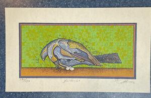 """Sixto Cotto 1992 """"Anidando"""" Puerto Rico Screen Print Pencil Signed"""