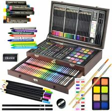 145 Piece Art Coloring Drawing Paint Supplies Set with Wooden Box Case for Kids