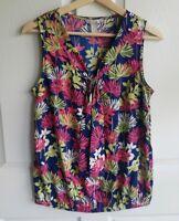 Banana Republic Womens Sleeveless Navy Pink Floral Blouse Top Shirt Size Small