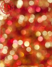 CHRISTMAS RED YELLOW LIGHTS BOKEH KIDS BACKDROP VINYL PHOTO PROP 5X7FT 150x220CM