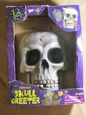 "LARGE GEMMY ANIMATED SINGING ""BAD TO THE BONE"" SKULL DOOR GREETER HALLOWEEN PROP"