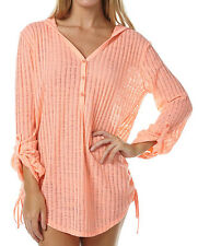 NEW + TAG BILLABONG WOMENS (10) 'LOVE CHILD' COVER UP OVERSHIRT TOP SUN PEACH
