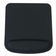 Square black mouse mat with wrist rest support