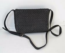 Vintage CEM Black  Woven Leather Crossbody /  Shoulder Bag Early 1980's