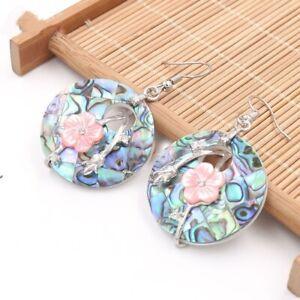 Genuine Abalone Shell Flower Carved Shell Gems Silver Dangle Hook Earrings Woman