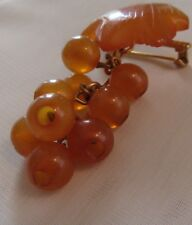 VINTAGE SIGNED RUSSIAN AMBER LEAF & GRAPES PIN PENDANT BROOCH