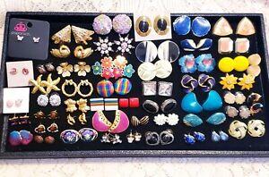 52 Piece Vintage & Modern Mixed Style Pierced Stud Earring Lot - Avon, Berebi
