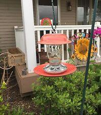 Hanging Mason Jar Bird Feeder Homemade with recycled glassware, stoneware #153