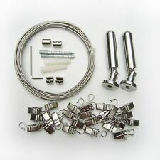 """5M 197"""" Curtain Drape Stainless Steel Wire Rod Set Kit +24pc Clip Hang Photo Art"""
