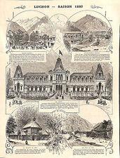 LUCHON SAISON 1880 GRAVURE ENGRAVING 1880