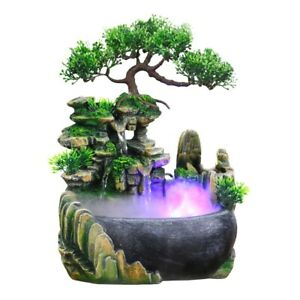 Rockery Water Fountain Desktop Chinese Fengshui Ornament Waterfall Indoor Decor