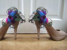 "Bridal Peacock Feathers Purple Blue Fuschia Shoe Clips ""Ella"" (Pair) Wedding"