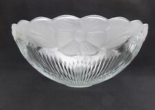 """14 7/8"""" D High Relief Floral Holophane Glass Torchiere Lamp Shade 2"""" F NOS"""