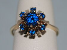 10k Gold ring with blue sapphires(Sept birthstones) in a flower design