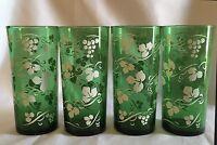 Vintage Green & White Grapes & Vines Glasses - Set Of 4