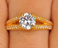 2.60 Karat Solide 585er Gelb Gold Rund Form Wunderbar Hochzeit Ring