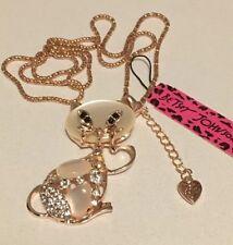 BETSEY JOHNSON Rhinestone Gorgeous Crystal Gem Cat kitty Gemstone Necklace US