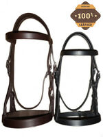 """LEATHER HORSE HUNTER BRIDLE WITH 2"""" NOSEBAND AND REINS BROWN BLACK FULL COB PONY"""