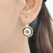 Mesmerizing Ruby Vermeil 14K Gold Over Sterling Silver Enameled Earring