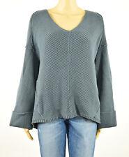Free People Womens Gray La Brea V-Neck Cuffed Pullover Sweater S