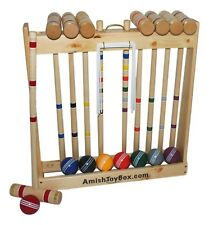 "AmishToyBox.com Deluxe 8 Player Croquet Game Set, 32"" Handles"