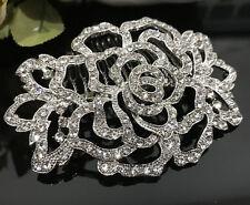 Beautiful flower wedding bridal crystal rhinestone silver tone hair comb 070831
