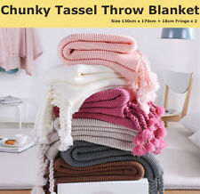 Chunky Tassel Fringe Knitting Throw Blanket Bed Couch Home Decor Classic Rug