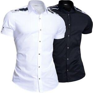 Mondo Men's Short Sleeve Shirt Cotton Printed Epaluetes Snaps Slim White Black