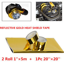 "20''x20'' REFLECTIVE HEAT SHIELD THERMAL RACING ENGINE with 2 Rolls 1""×5m Gift"