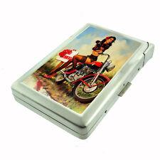Metal Cigarette Case w/ Built In Lighter Italian Vintage Model Pin Up Girl D-181