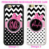 BLACK WHITE HEARTS CHEVRON MONOGRAM PHONE CASE FOR IPHONE XS XR 8 CUTE PINK BOW