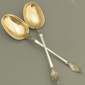 PAIR of 19C Antique Danish Silver Serving Spoon Ladle Gravy Salad Sauce Gilt CE