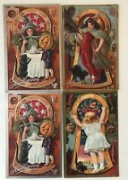 Lot of 4 Nash Vintage~Halloween Postcards~Keyhole~Witches~JOL Pumpkins~Cat~