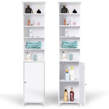 Bathroom Tall Cabinet Large Storage Shelf Cupboard Freestanding Furniture White