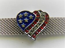 Silver Tone Large Pave American US HEART Flag Charm fits Keep Collective