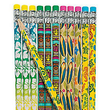 HAWAIIAN PARTY Beach Hibiscus Luau Pencils Eraser Favours Pack of 12 Free Post