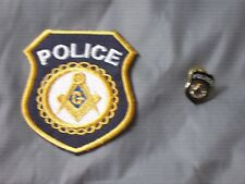 Masonic Police Officer Iron Sew Patch Tac Pin Square Compass Shield NEW!