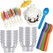 Outside the Box Papers Ice Cream Sundae Kit with Clear Plastic 8 Ounce Dishes, S