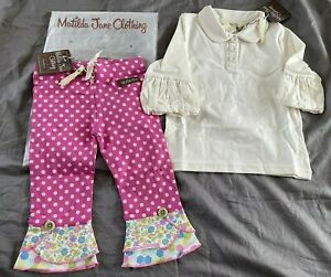 MATILDA JANE SIZE 2 WHATS UP DOT SCRAPPY PANTS & COLLARED PUFFER TEE LOT NEW NWT
