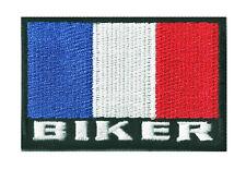 Patche écusson insigne drapeau BIKER FRANCE thermocollant patch 70 x 45 mm