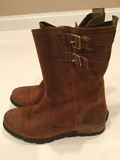 Sorel Major Pull On Boot Size 9.5 Brown Oiled Suede Leather Buckles