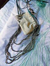 Jigsaw - Long ribbon adjustable 5 strand grey pearl and crystal necklace