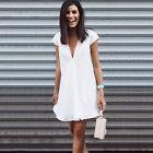 Plus Size Women's Plunge V Neck Loose Dress Casual Summer Beach Chiffon Sundress