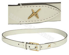 GUCCI BELT MENS 375182 WHITE CROSSED FEATHERS LOGO GOLD BUCKLE $495 95 38