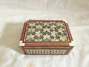 "Egyptian Inlaid Beech Wood Handmade Mother of Pearl Jewelry Box 5"" # 429"