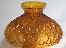 "10"" Amber Glass Diamond Quilted Student Kerosene Oil Lamp Shade fits Aladdin 402"