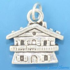 SWISS CHALET SKI MOUNTAIN LODGE COTTAGE 3D .925 Solid Sterling Silver Charm