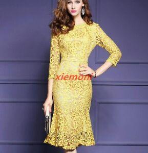Sexy Girl Women Yellow Lace Fishtail Hem 3/4 Sleeve Cocktail Party Dress Plus Sz