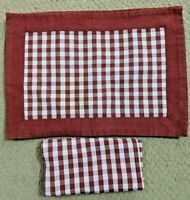 Williams Sonoma Red White Checkered Placemats & Napkins Set of 6 Each